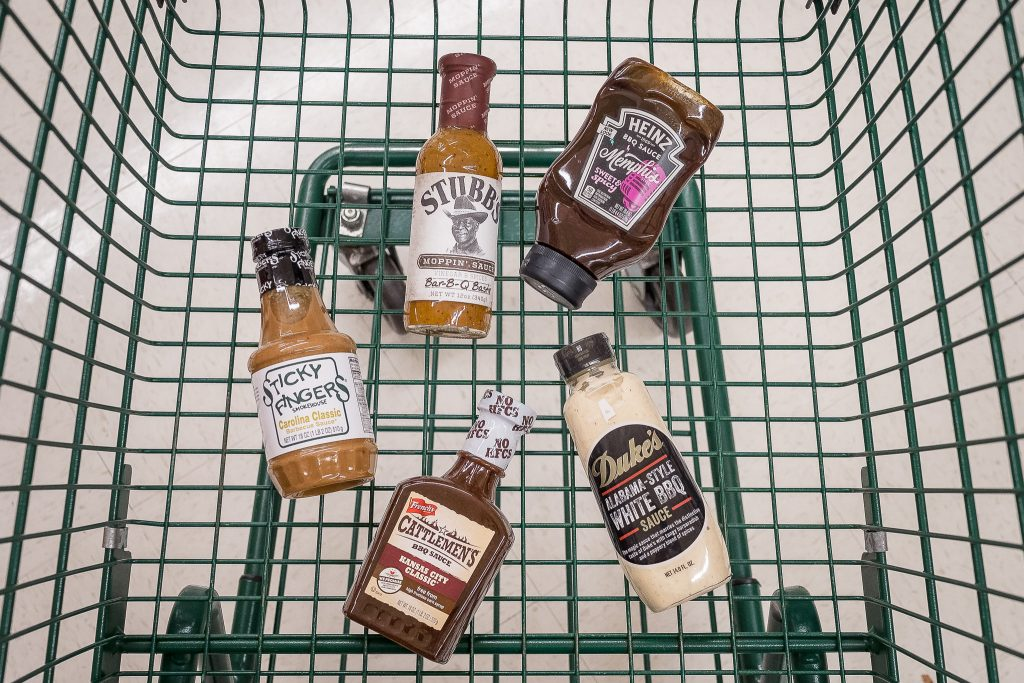 Regional BBQ sauce in shopping cart